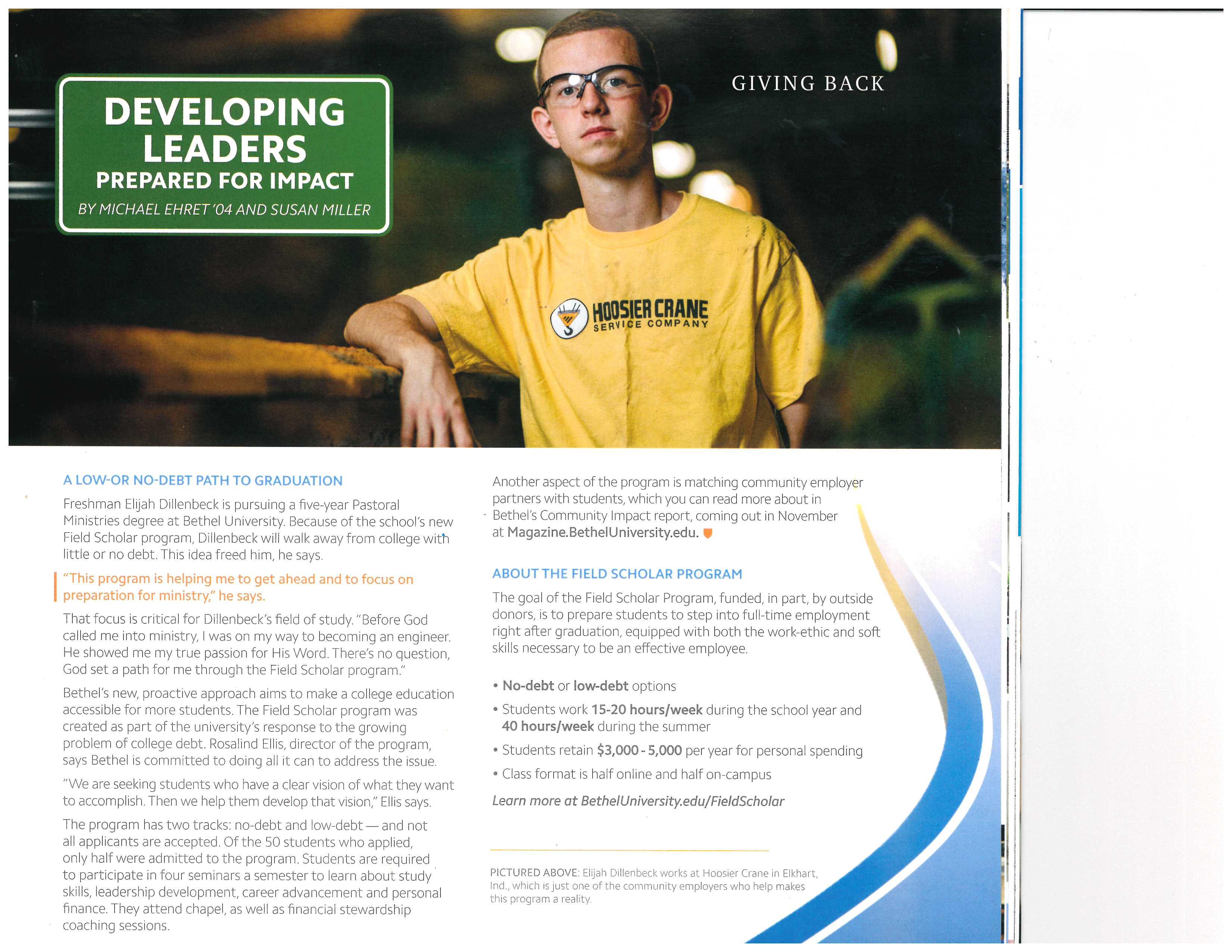 Hoosier Crane Intern Appears In Bethel magazine